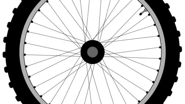 A rotating old-fashioned spoke bicycle wheel over a white background