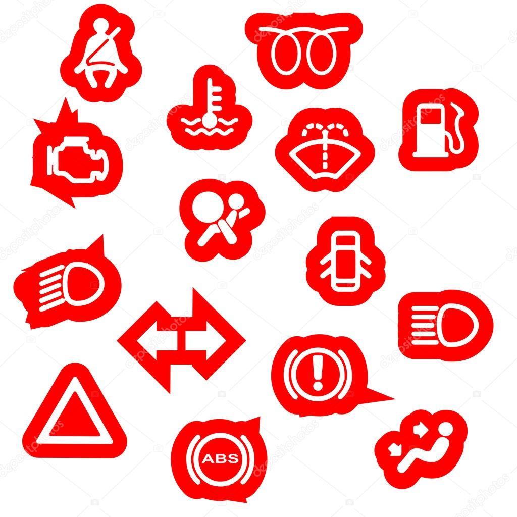 Vehicle Dash Warning Symbols Stock Vector Bigalbaloo 54357707