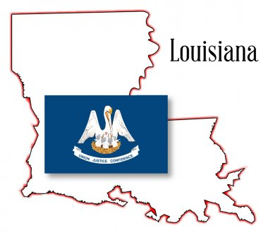 Louisiana State Map and Flag