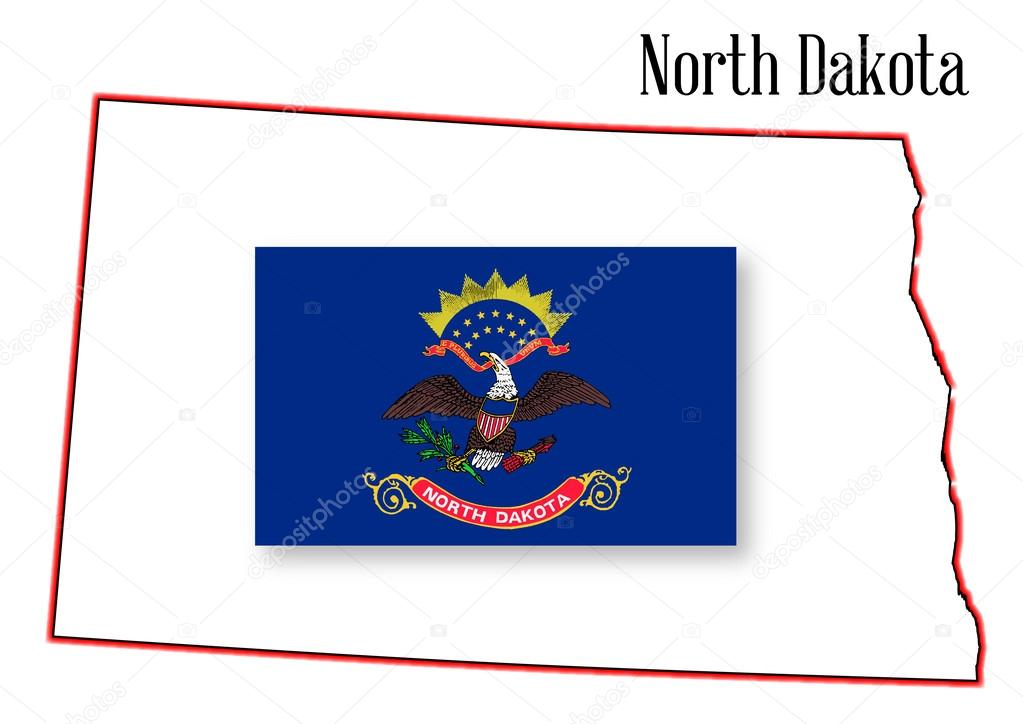 North Dakota State Map And Flag Stock Vector BigAlBaloo - North dakota state map