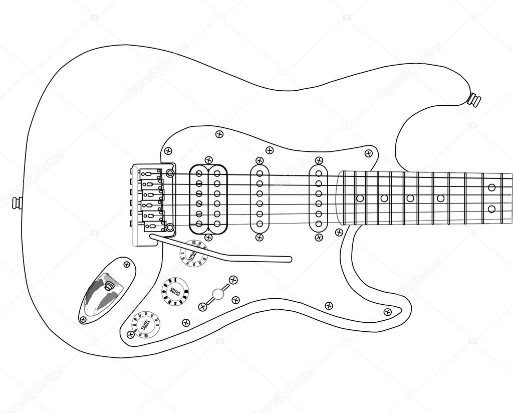 electric guitar outlines  u2014 stock vector  u00a9 bigalbaloo  77532336