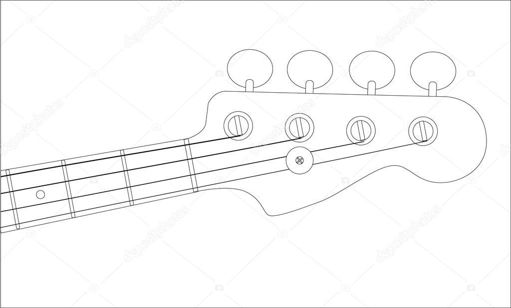 bass headstock outline  u2014 stock vector  u00a9 bigalbaloo  79623876