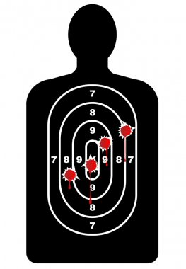 Human Shape Target With Bullet Holes