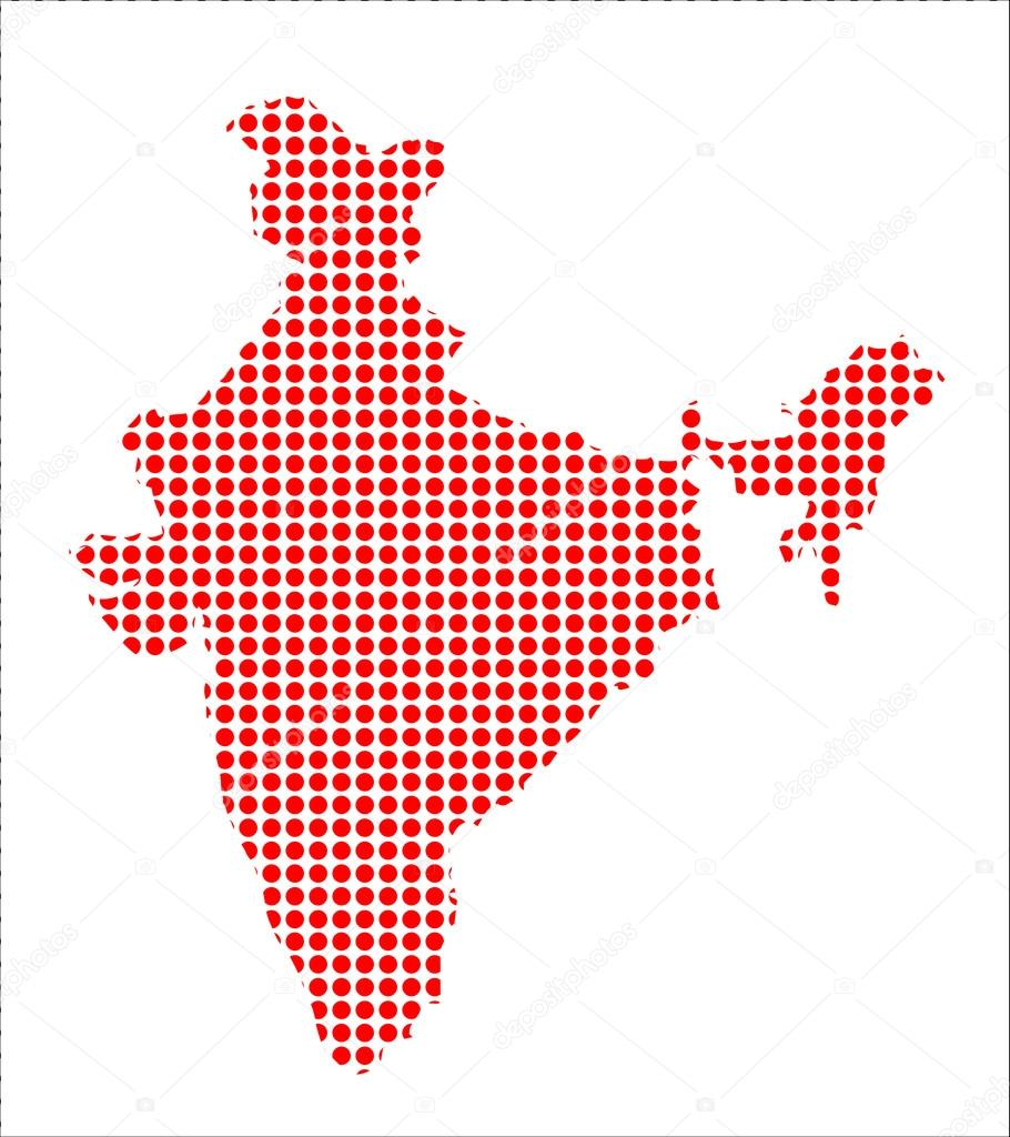 Red Dot Map of India — Stock Vector © BigAlBaloo #81439406