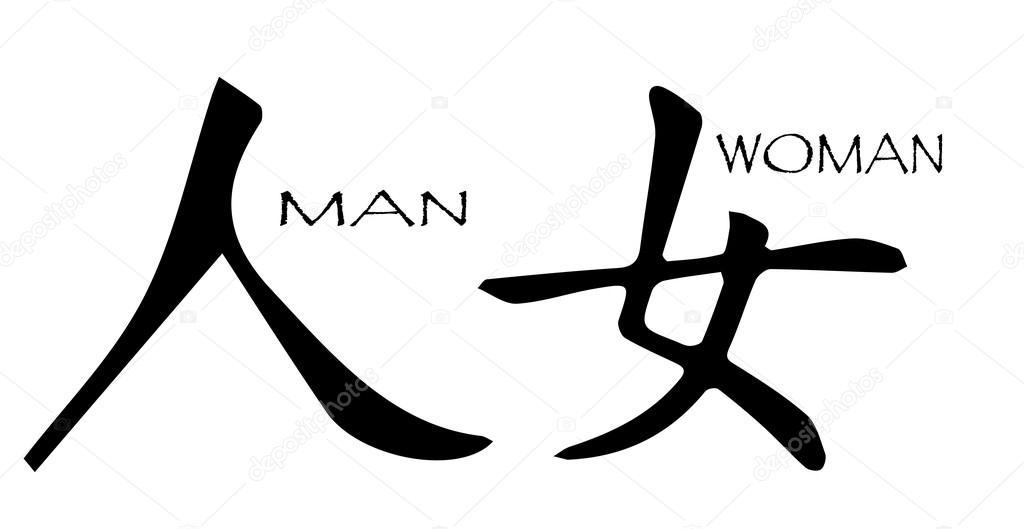 Chinese Symbol Man Woman Stock Vector Bigalbaloo 86515702