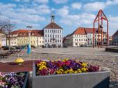 Marktplatz und Rathaus von Bischofswerda in Sachsen