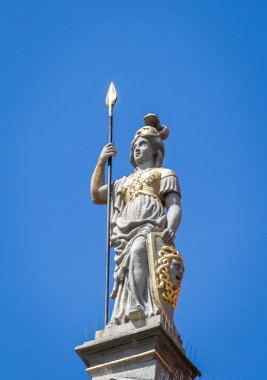 Woman sculpture with a spear. Golden Gate in Gdansk