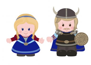 Vikings, man and woman in in ancient scandinavian clothing.