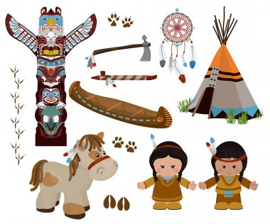 Indian symbols set, cartoon characters of American Indians