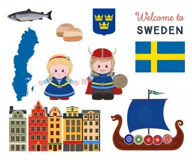Welcome to Sweden, scandinavian symbols set