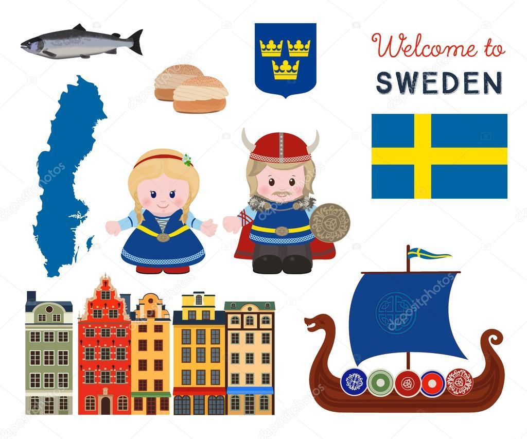 Welcome To Sweden Scandinavian Symbols Set Stock Vector Alefbet