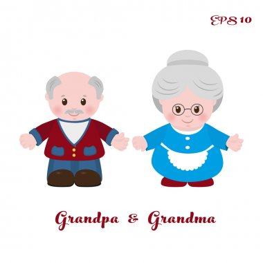 Grandmother and grandfather, cartoon style