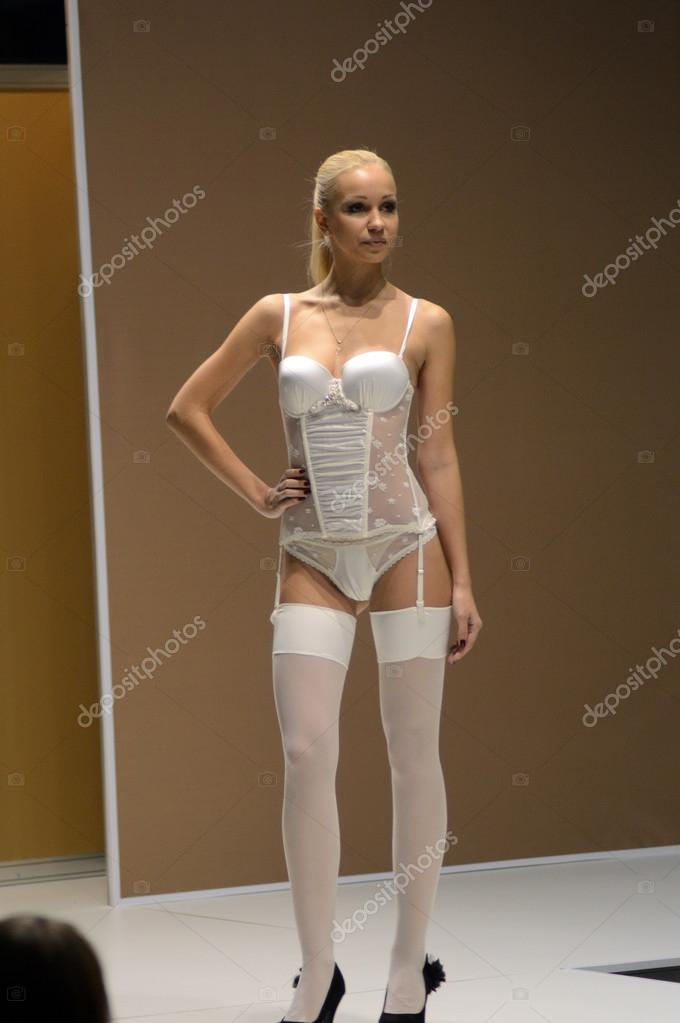 The stocking lingerie blonde your
