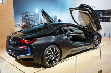 Moscow International Automobile Salon BMW i8 With raised upstairs doors Shine