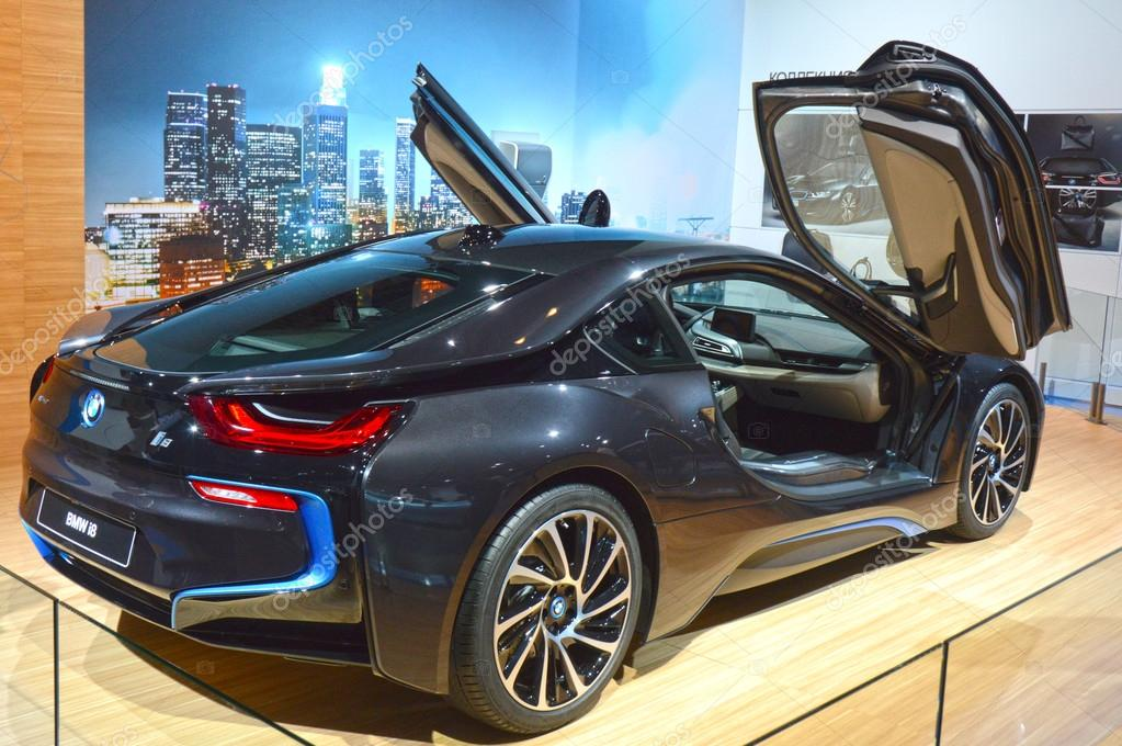 Moscow International Automobile Salon BMW i8 With raised upstairs doors