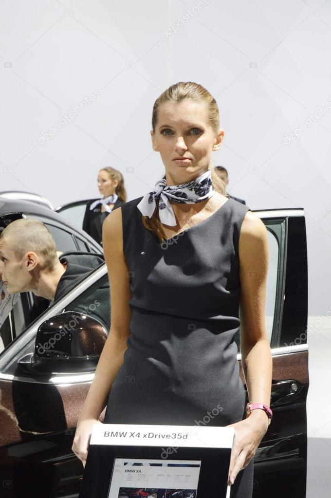 BMW X4 xDrive35d. Broun color. Women from BMW team Moscow International Automobile Salon Drive Look