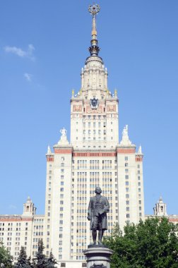 August Heat Sunlight Summer Monument to Mikhail Lomonosov in the Sparrow Hills The building of Lomonosov Moscow State University
