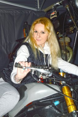 Moto Park 2015 exhibition visitor on a motorcycle
