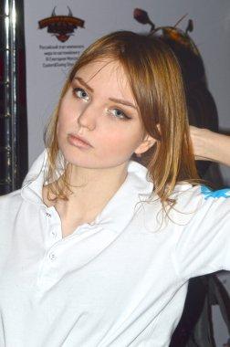Moto Park 2015 Beautiful women model participates in the exhibition