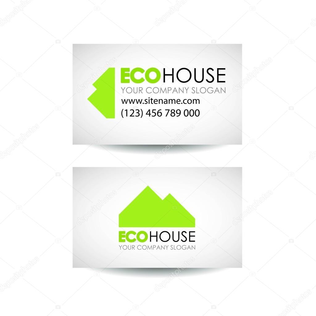Ide De Conception Cologique Maison Carte Visite Eco Architecture Et Construction Modle Vecteur Par Moyprofile