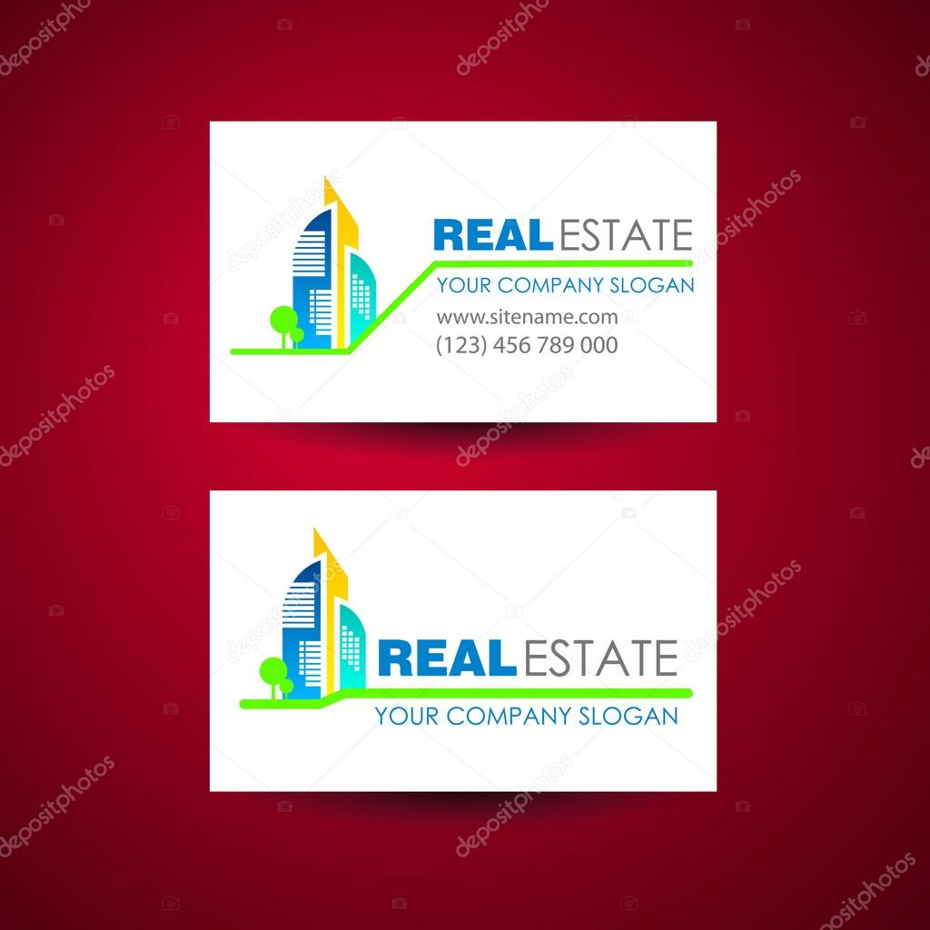Real estate logo template. Business card design idea. — Stock Vector ...
