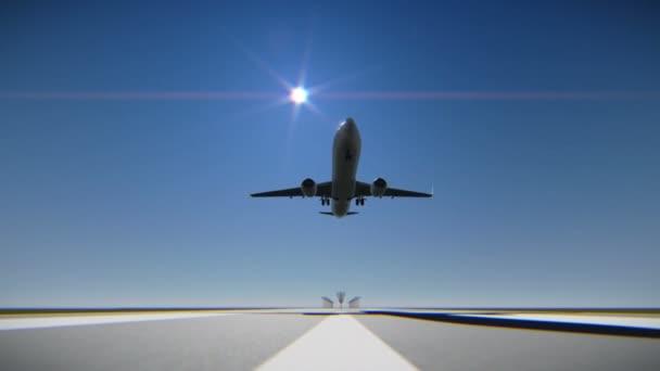 Airplane landing on the airport runway