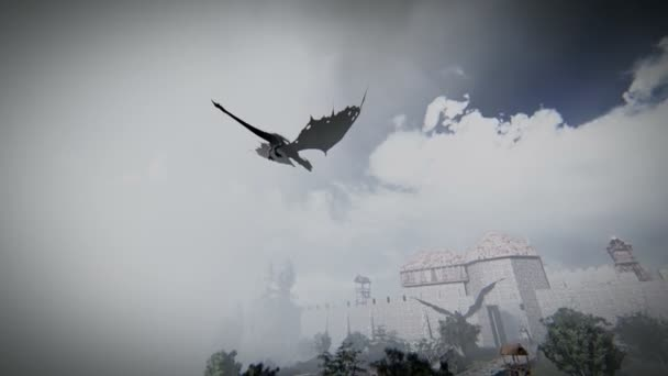 Mythological dragon flying over a medieval village