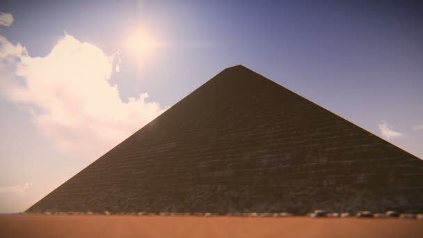 Airplane flying over one of Egypt Pyramids