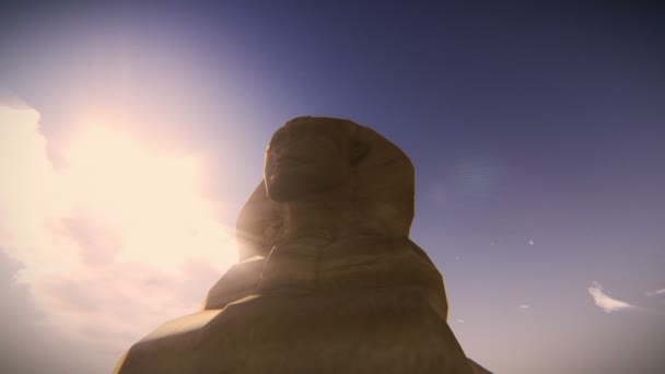 Airplane flying over the Great Sphinx of Giza