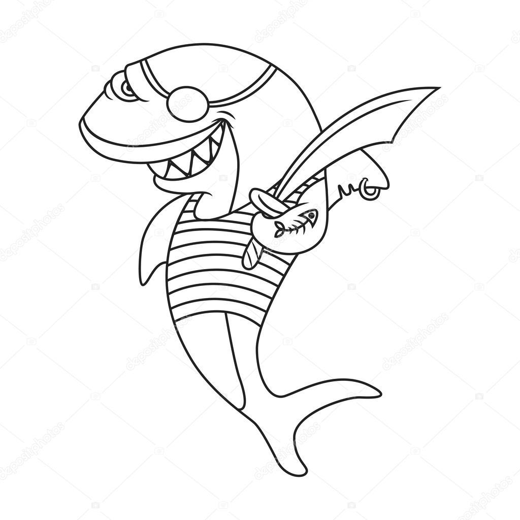 tiburón historieta pirata — Archivo Imágenes Vectoriales © BalakoboZ ...