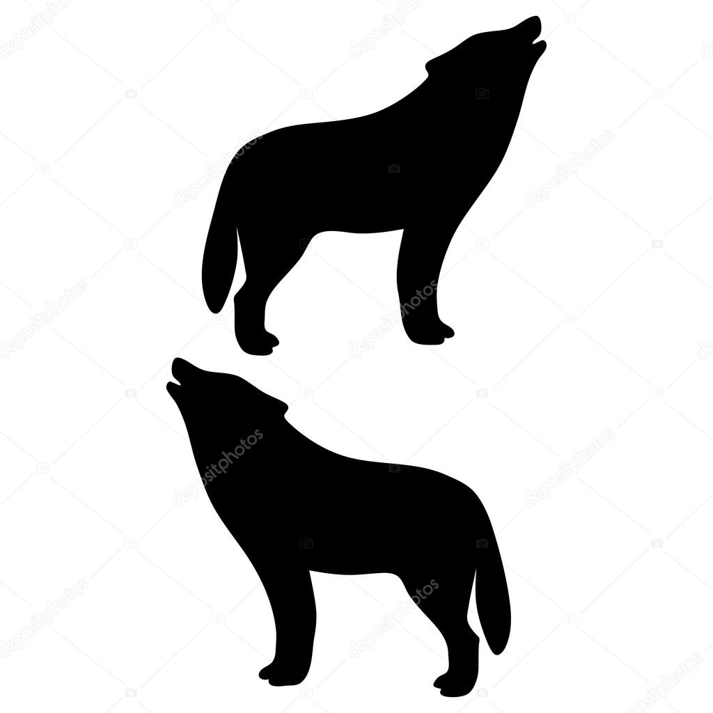 howling wolf silhouette vector on white background vector by balakoboz