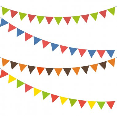 Bunting colorful set, flat