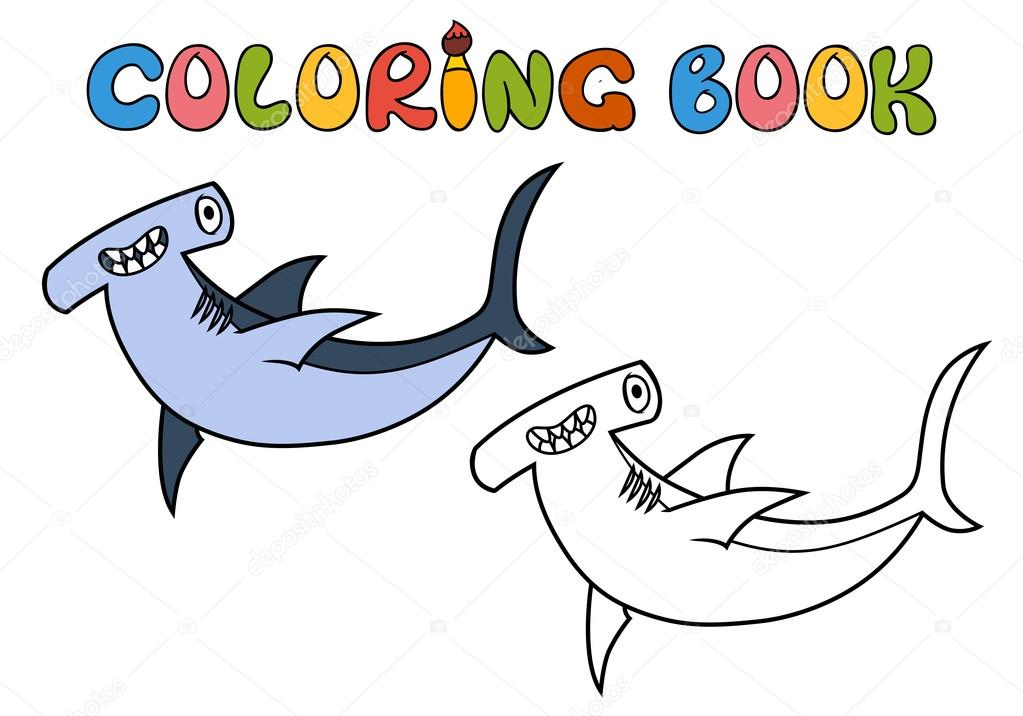 tiburón martillo de dibujos animados — Archivo Imágenes Vectoriales ...