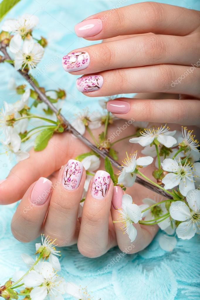 Spring Manicure For The Bride In Gentle Tones With Flowers Nail