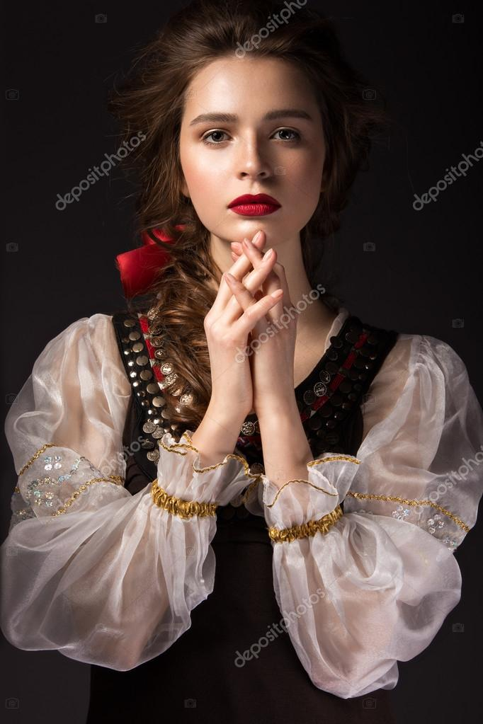 prices for haircuts beautiful russian in national dress with a braid 4968