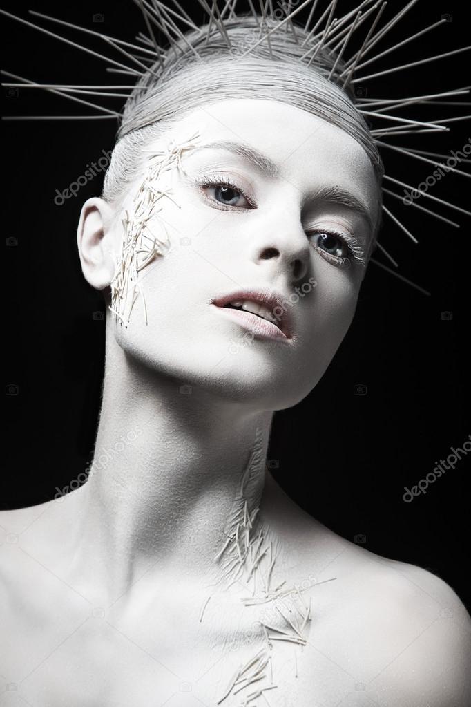 Прическа черная белая