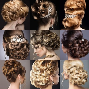 Collection of wedding hairstyles. Beautiful girls. Beauty hair. Photo taken in the studio. stock vector