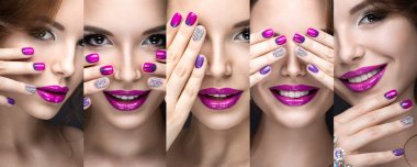 Beautiful girl with a bright evening make-up and pink manicure rhinestones. Nail design. Beauty face.
