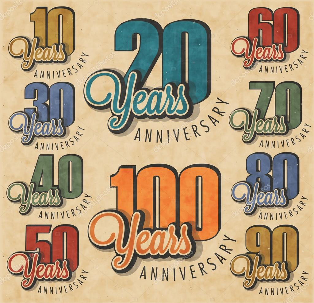 Anniversary sign collection and cards design in retro style
