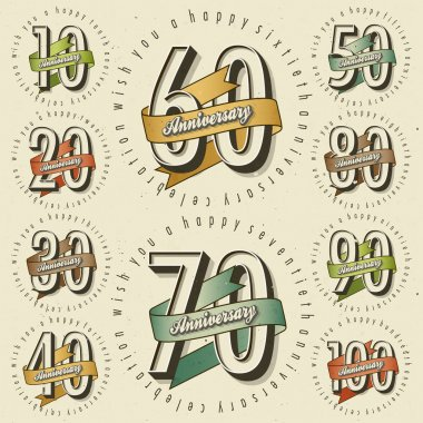 Anniversary sign collection and cards design in retro style. T