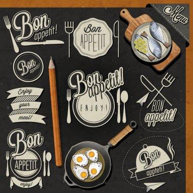 Retro vintage style hand drawn typographic symbols for restaurant menu design.