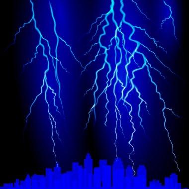 Lightning strike on the sky. Vector illustration clip art vector