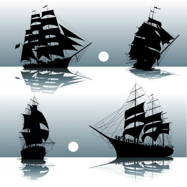 Silhouettes of sailing ships