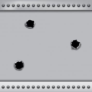 Bullet holes isolated on metal plate background. Vector illustration EPS 10 stock vector