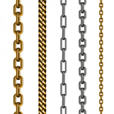 Set of chains made of different metals isolated on white. Vector illustration EPS 10 stock vector