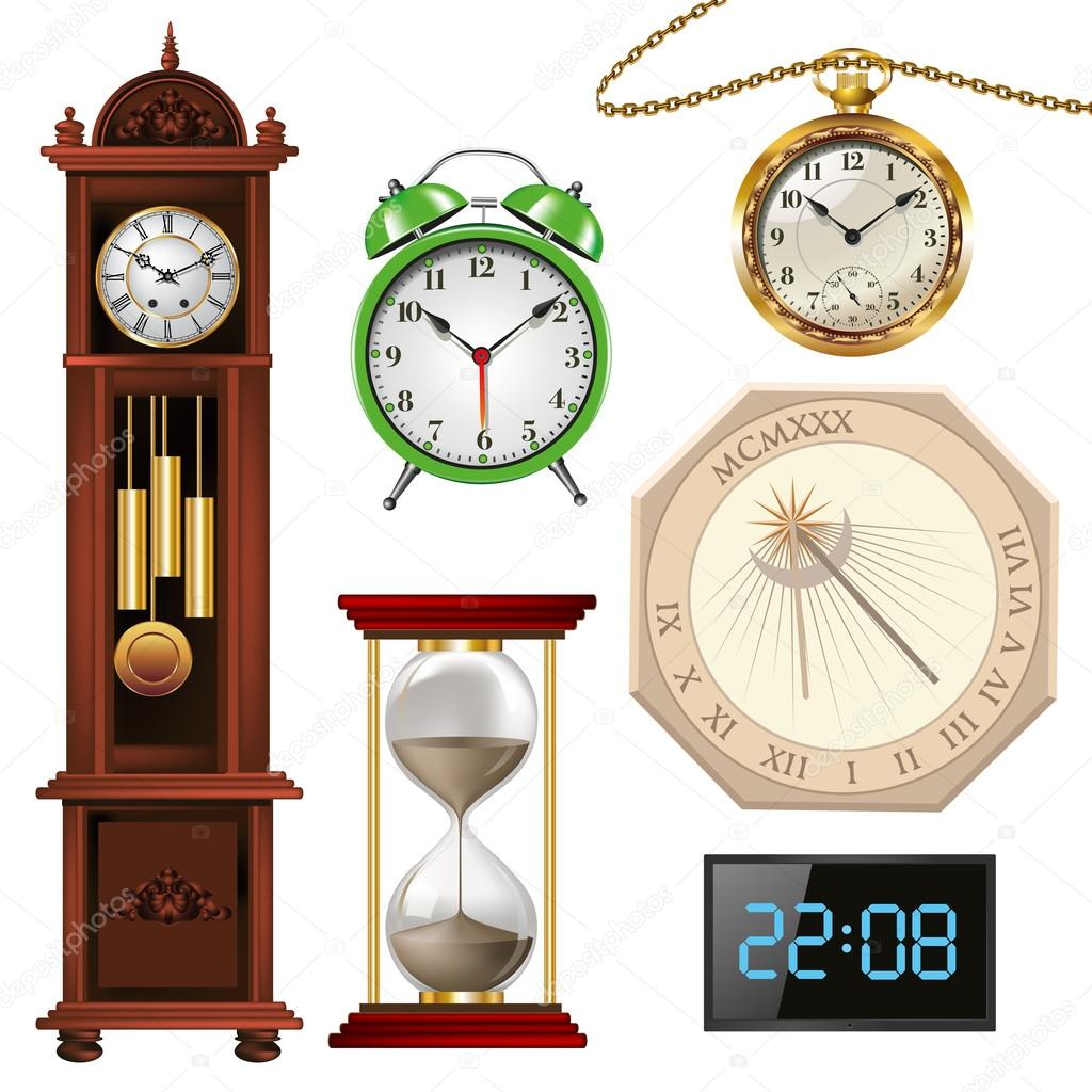Different Types Of Clocks Stock Vector Route55 70758681