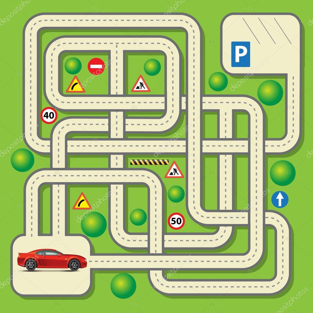 vector maze game stock vector route55 80587148