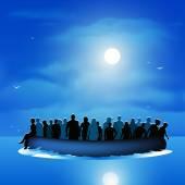 Refugees on pontoon boat