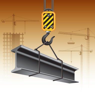 Crane hook and steel beam