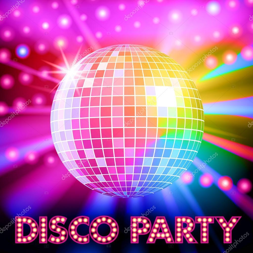 08ee9d5a82b8 Luces de discoteca y brillante bola de discoteca — Vector de stock